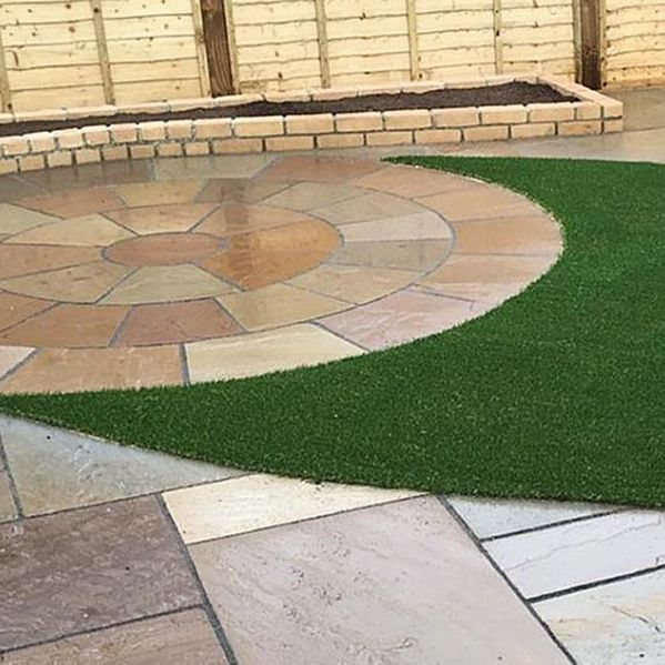 turfing and patio area installed by our professionals